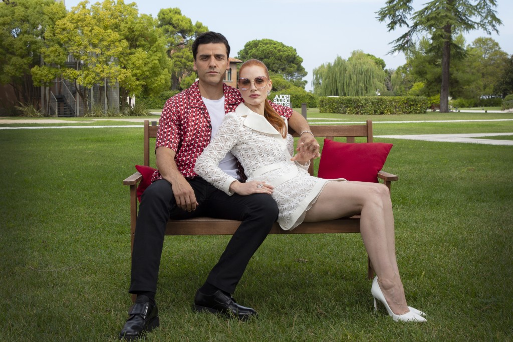 FILE - In this Sept, 4, 2021 file photo Oscar Isaac, left, and Jessica Chastain pose for portraits for the film 'Scenes from a Marriage' during the 78...