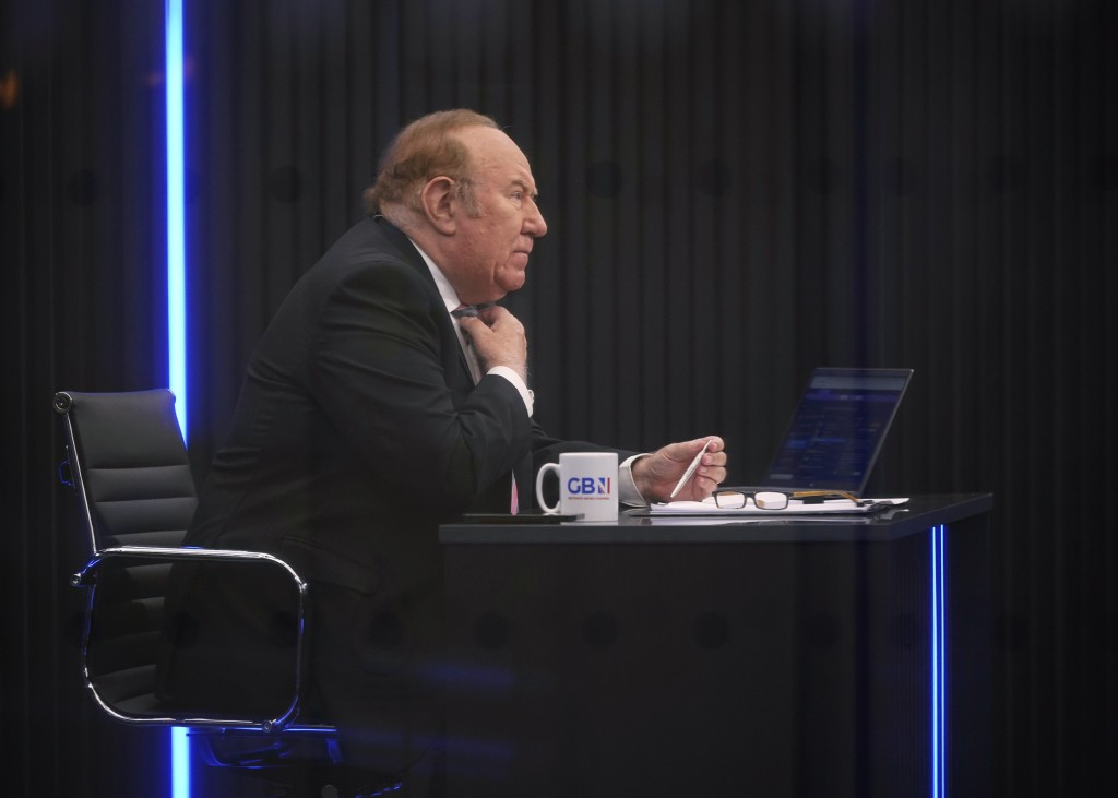 FILE - In this June 13, 2021 file photo, Andrew Neil is seen in the GB News studio in London. British broadcasting veteran Andrew Neil has stepped dow...