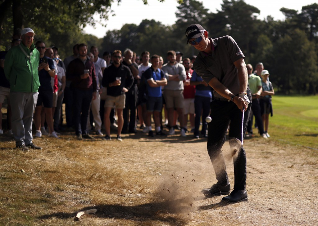 Sweden's Peter Hanson plays a shot of the 6th fairway during day four of the PGA Championship at Wentworth Golf Club, Surrey, England, Sunday, Sept. 1...