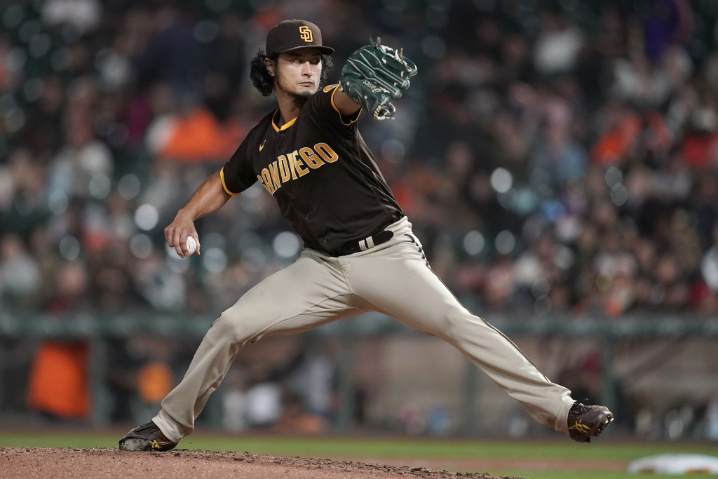 San Diego Padres' Yu Darvish pitches against the San Francisco Giants during the fourth inning of a baseball game in San Francisco, Monday, Sept. 13, ...