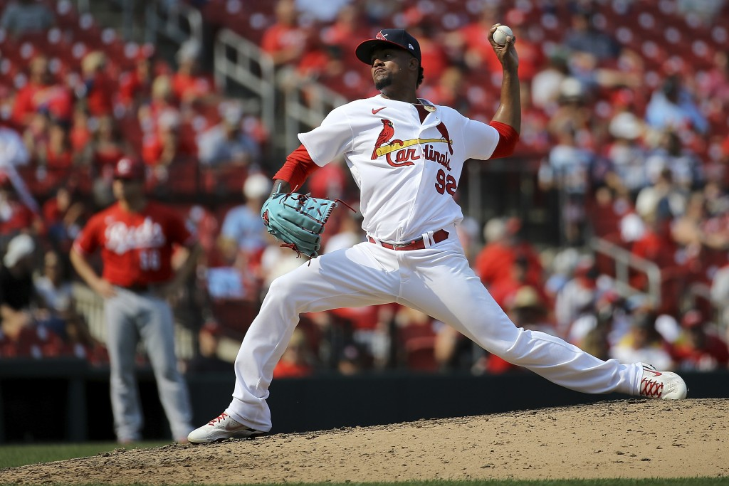 St. Louis Cardinals relief pitcher Genesis Cabrera delivers during the eighth inning of a baseball game against the Cincinnati Reds Sunday, Sept. 12, ...