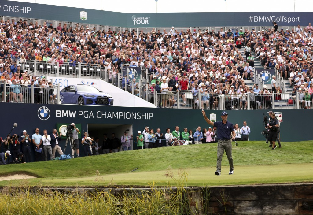 Billy Horschel of the U.S celebrates victory during day four of the PGA Championship at Wentworth Golf Club, Surrey, England, Sunday, Sept. 12, 2021. ...
