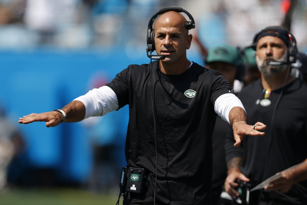 New York Jets head coach Robert Saleh gestures during the first half of an NFL football game against the Carolina Panthers Sunday, Sept. 12, 2021, in ...