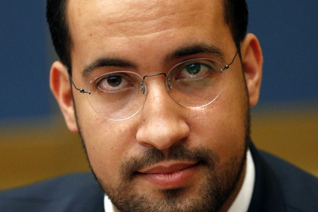 FILE - In this Sept.19, 2018 file photo, former President Macron's security aide Alexandre Benalla appears before the French Senate Laws Commission pr...