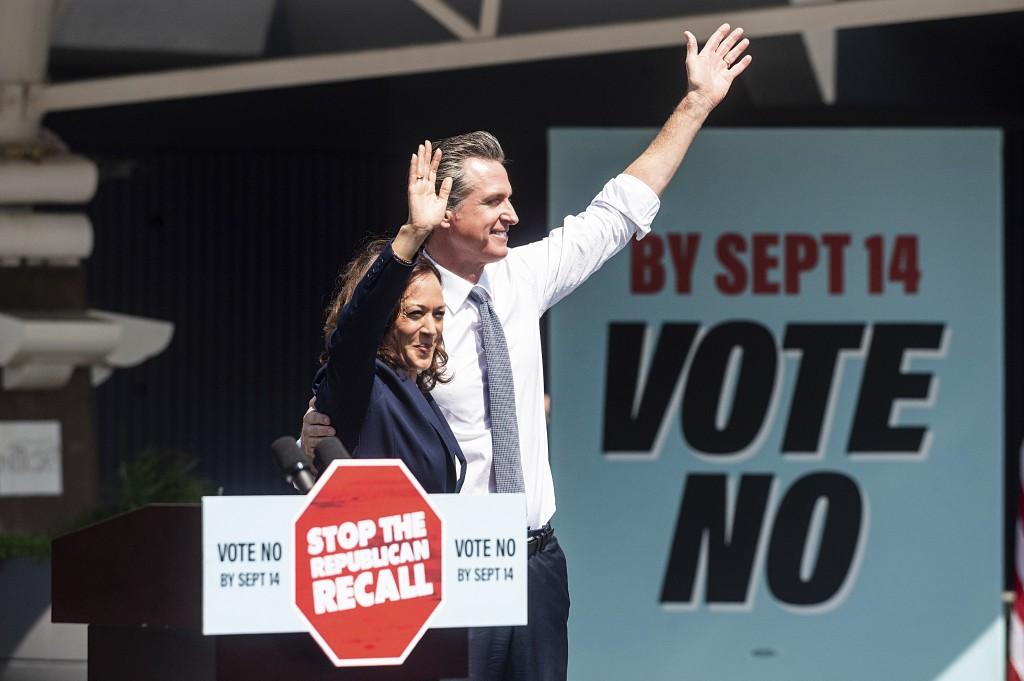 Vice President Kamala Harris joins California Gov. Gavin Newsom rallying against the California gubernatorial recall election on Wednesday, Sept. 8, 2...