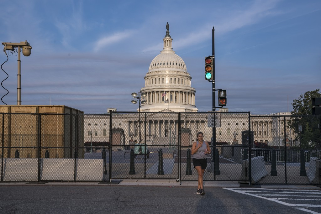 Fencing has been reinstalled around the Capitol in Washington, Thursday, Sept. 16, 2021, ahead of a planned rally by far-right supporters of former Pr...