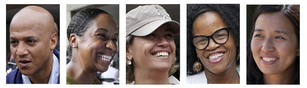 FILE - This five-picture photo combination shows candidates running for Boston mayor. From left are John Barros, Andrea Campbell, Annissa Essaibi Geor...