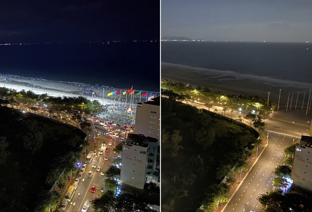 In this photo combination, the left shows busy traffic in Vung Tau, Vietnam on April 30, 2021, and the right shows empty street during a virus lockdow...