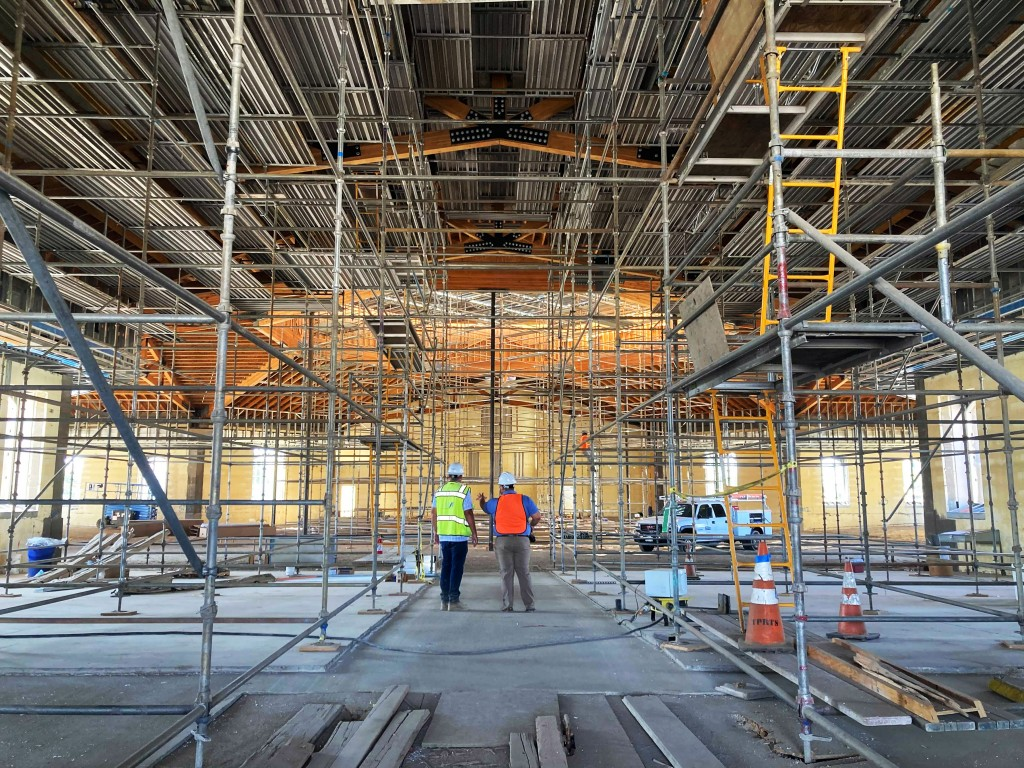 The interior of the St. Charles Borromeo Catholic Church construction site in Visalia, Calif., on Thursday, Aug. 26, 2021. It's billed as the largest ...