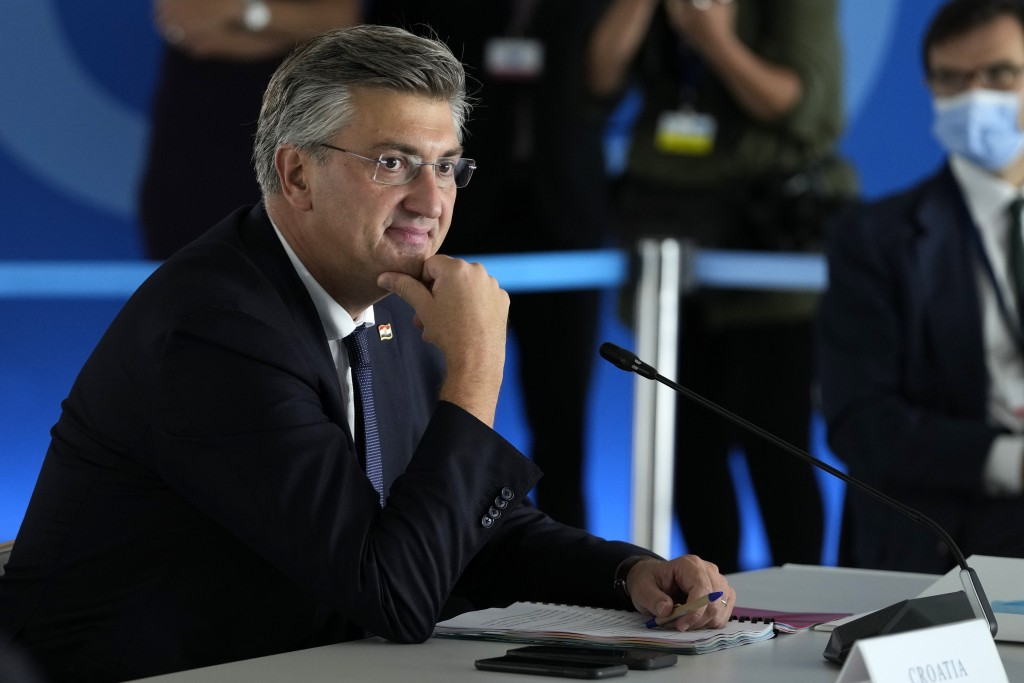 Croatian Prime Minister Andrej Plenkovic attends the EUMED 9 summit at the Stavros Niarchos Foundation Cultural Center in Athens, Friday, Sept. 17, 20...