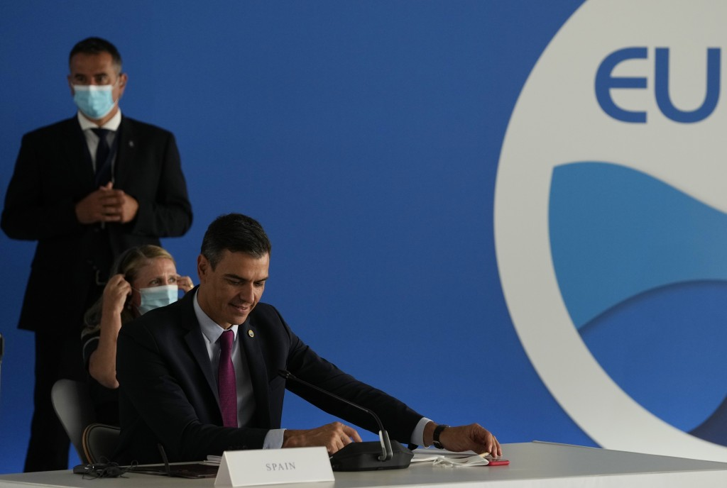 Spanish Prime Minister Pedro Sanchez attends the EUMED 9 summit at the Stavros Niarchos Foundation Cultural Center in Athens, Friday, Sept. 17, 2021. ...