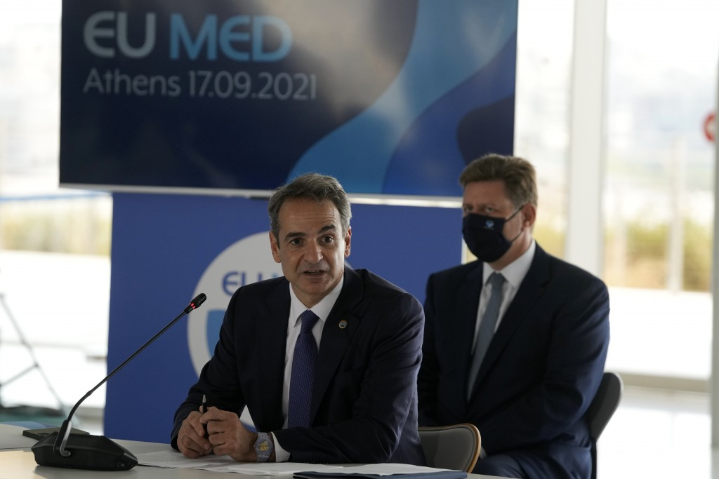 Greek Prime Minister Kyriakos Mitsotakis attends the EUMED 9 summit at the Stavros Niarchos Foundation Cultural Center in Athens, Friday, Sept. 17, 20...