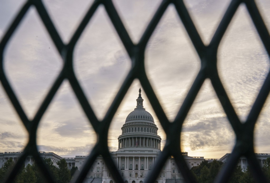 Security fencing has been reinstalled around the Capitol in Washington, Thursday, Sept. 16, 2021, ahead of a planned Sept. 18 rally by far-right suppo...