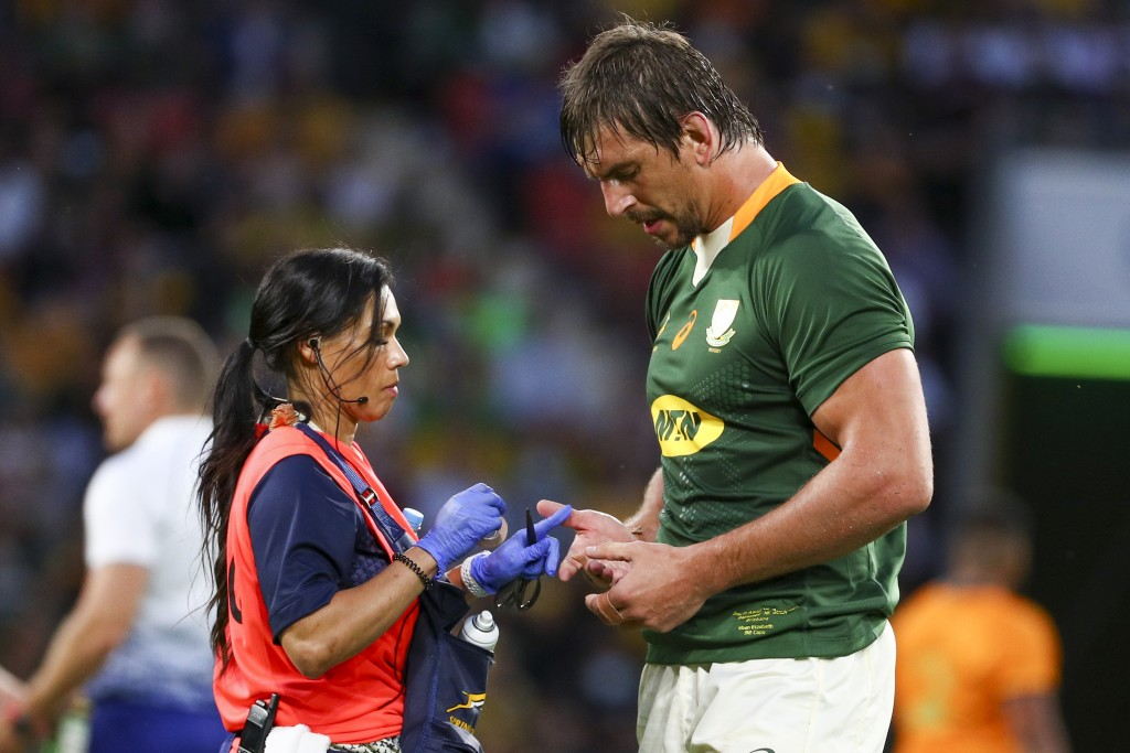 iSouth Africa's Eben Etzebeth receives treatment during the Rugby Championship test match between the Springboks and the Wallabies in Brisbane, Austra...