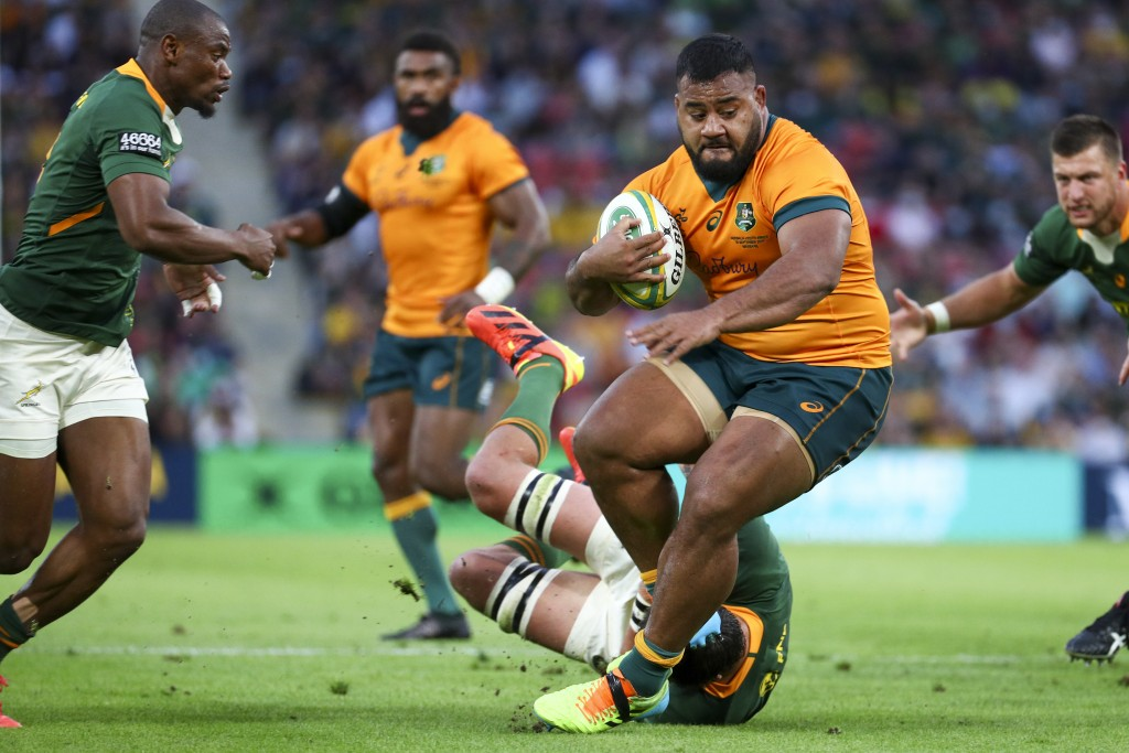 Australia's Taniela Tupou makes a run during the Rugby Championship test match between the Springboks and the Wallabies in Brisbane, Australia, Saturd...