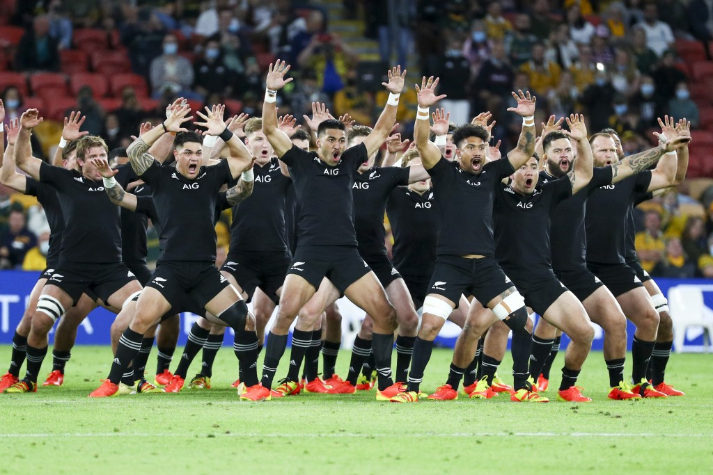 New Zealand perform a haka ahead of the Rugby Championship test match between the All Blacks and the Pumas in Brisbane, Australia, Saturday, Sept. 18,...