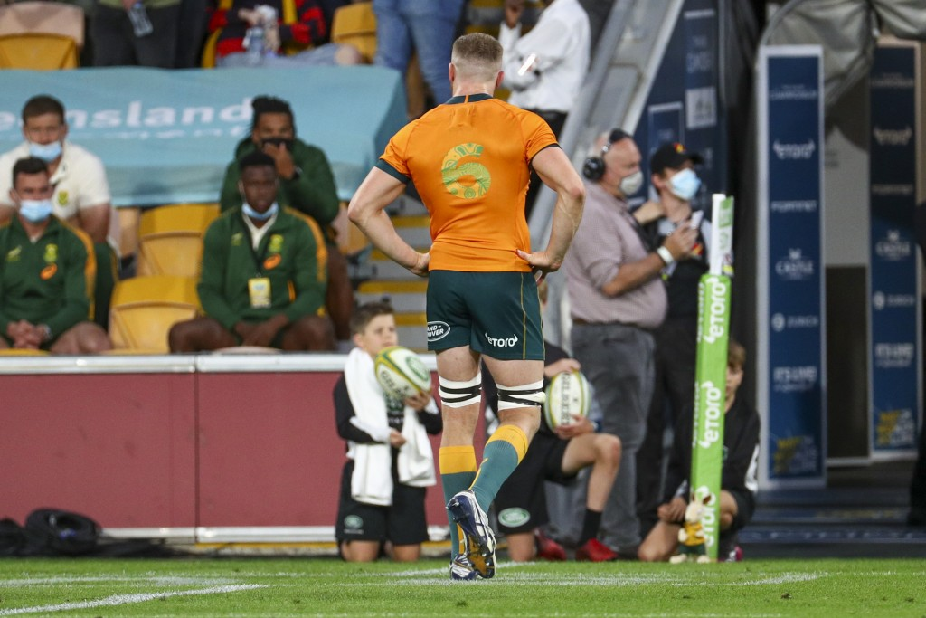 Australia's Lachlan Swinton leaves the field after he was shown a yellow card during the Rugby Championship test match between the Springboks and the ...