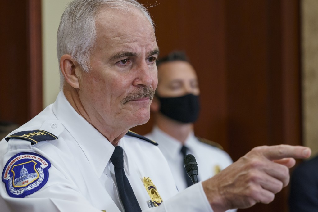 U.S. Capitol Police Chief Tom Manger holds a news conference to discuss preparations for a weekend rally planned by allies of Donald Trump who support...