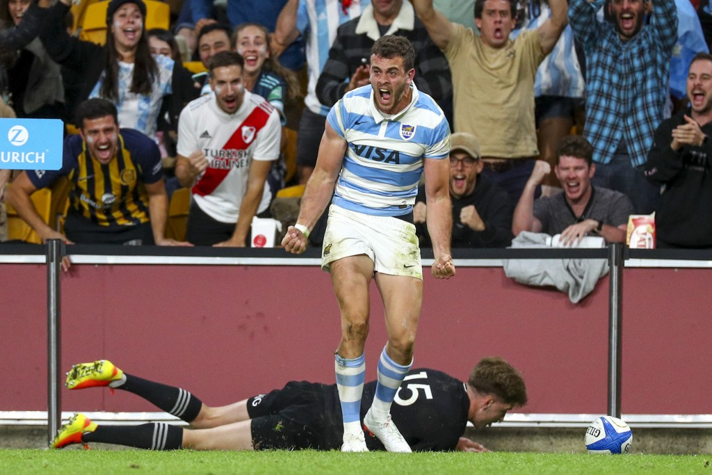 Argentina's Emiliano Boffelli celebrates after scoring a try during the Rugby Championship test match between the All Blacks and the Pumas in Brisbane...