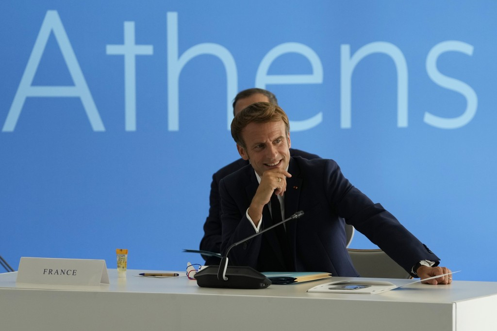 French President Emmanuel Macron attends the EUMED 9 summit at the Stavros Niarchos Foundation Cultural Center in Athens, Friday, Sept. 17, 2021. Nine...