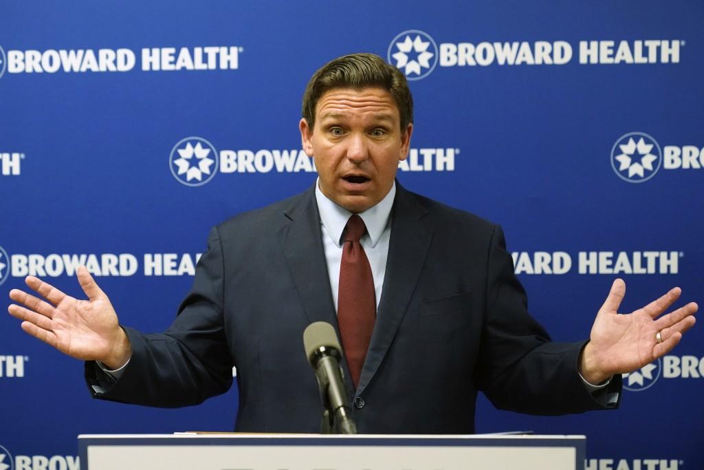 Florida Gov. Ron DeSantis speaks at a news conference, Thursday, Sept. 16, 2021, at the Broward Health Medical Center in Fort Lauderdale, Fla. DeSanti...