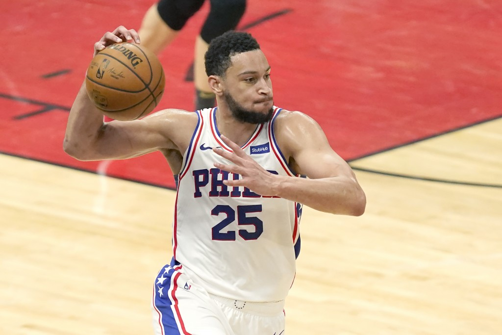FILE- In this May 3, 2021, file photo, Philadelphia 76ers' Ben Simmons looks to pass during the second half of an NBA basketball game against the Chic...