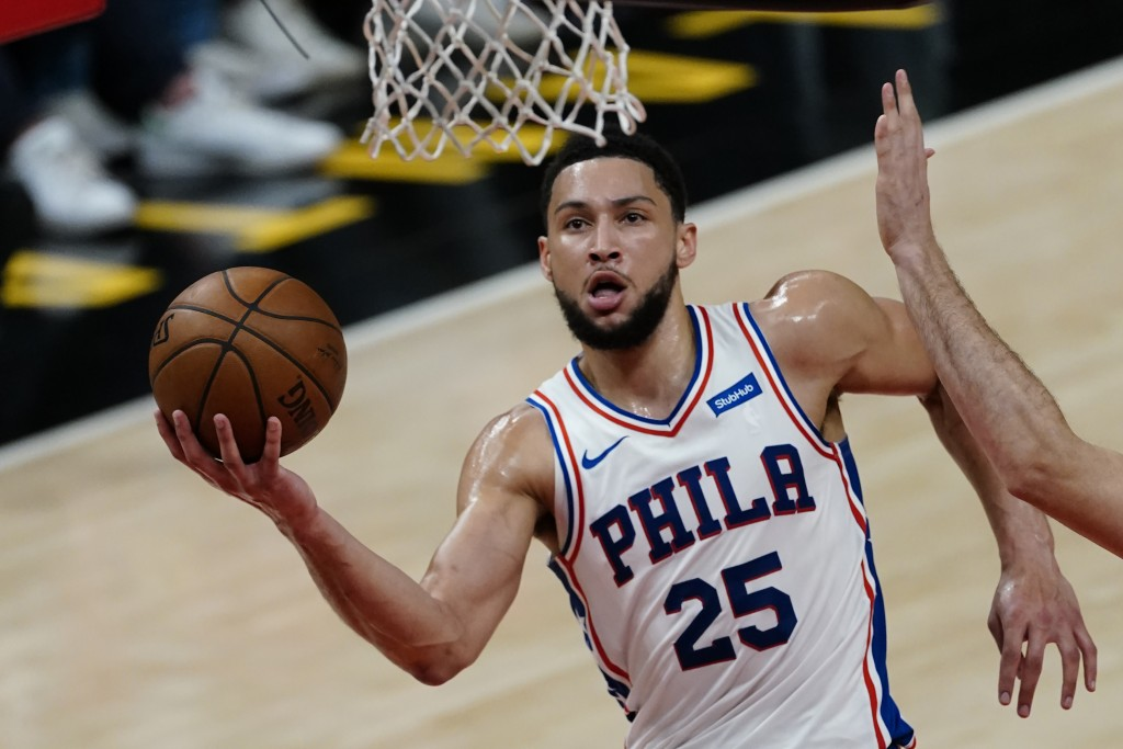 FILE - Philadelphia 76ers guard Ben Simmons (25) goes to the basket during their NBA playoff basketball game against the Atlanta Hawks, in Atlanta, in...