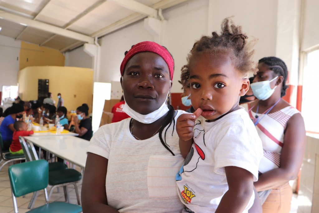 Ana Estache, from Port-au-Prince, Haiti, poses for a photo with her two-year-old son in Monterrey, Mexico, Thursday, Sept. 23, 2021, after traveling f...