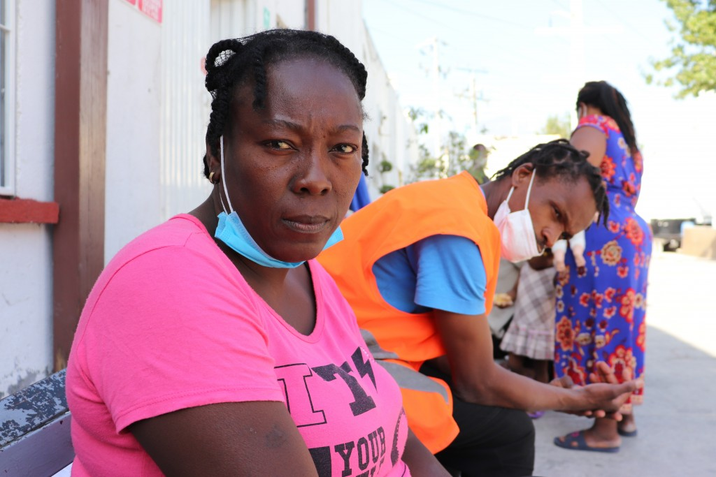 Violene Marseille, 36, from Haiti, poses for a portrait in Monterrey, Mexico, Thursday, Sept. 23, 2021, after traveling from Chile where she and her f...