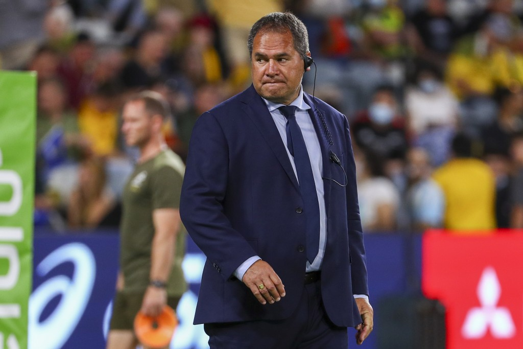 Australia's rugby coach Dave Rennie watches his players warm up ahead of the Rugby Championship test match between the Pumas and the Wallabies in Town...