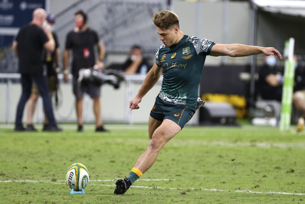 Australia's James O'Connor kicks a penalty goal during the Rugby Championship test match between the Pumas and the Wallabies in Townsville, Australia,...