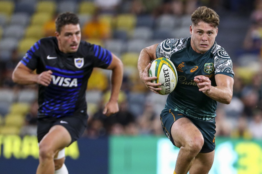 Australia's James O'Connor makes a run during the Rugby Championship test match between the Pumas and the Wallabies in Townsville, Australia, Saturday...