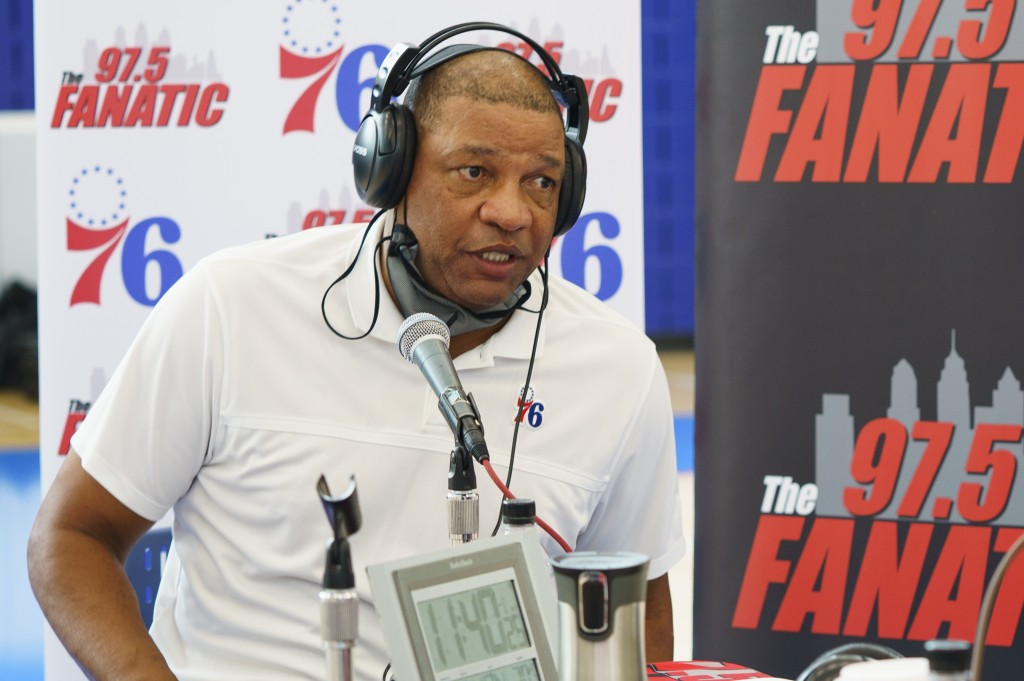 Philadelphia 76ers head coach Doc Rivers talks to the media during the NBA basketball team's Media Day in Camden, N.J., Monday, Sept. 27, 2021. (AP Ph...