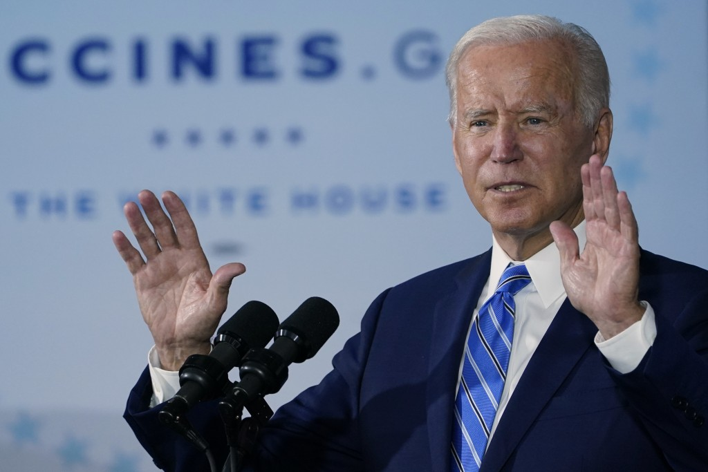 President Joe Biden speaks about COVID-19 vaccinations after touring a Clayco Corporation construction site for a Microsoft data center in Elk Grove V...