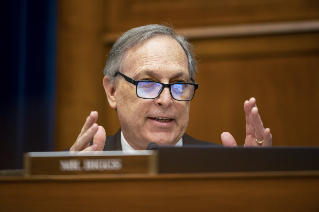 Rep. Andy Biggs, R-Ariz., speaks during a House Oversight and Government Reform Committee hearing to examine a Republican-led Arizona audit of the 202...