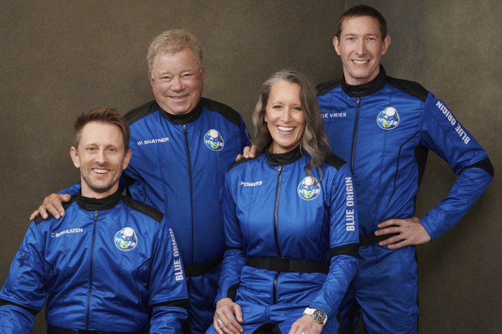 This undated photo made available by Blue Origin in October 2021 shows, from left, Chris Boshuizen, William Shatner, Audrey Powers and Glen de Vries. ...
