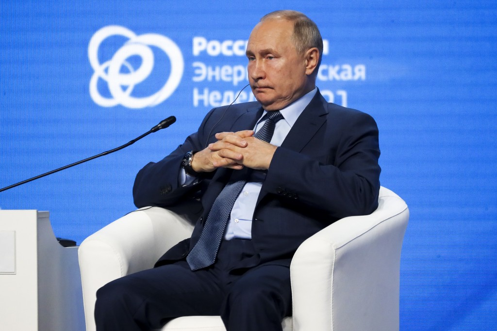 Russian President Vladimir Putin attends plenary session ofRussian Energy Week in Moscow, Russia.