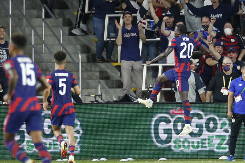 United States' Tim Weah, right, celebrates his goal against Costa Rica during the second half of a World Cup qualifying soccer match Wednesday, Oct. 1...