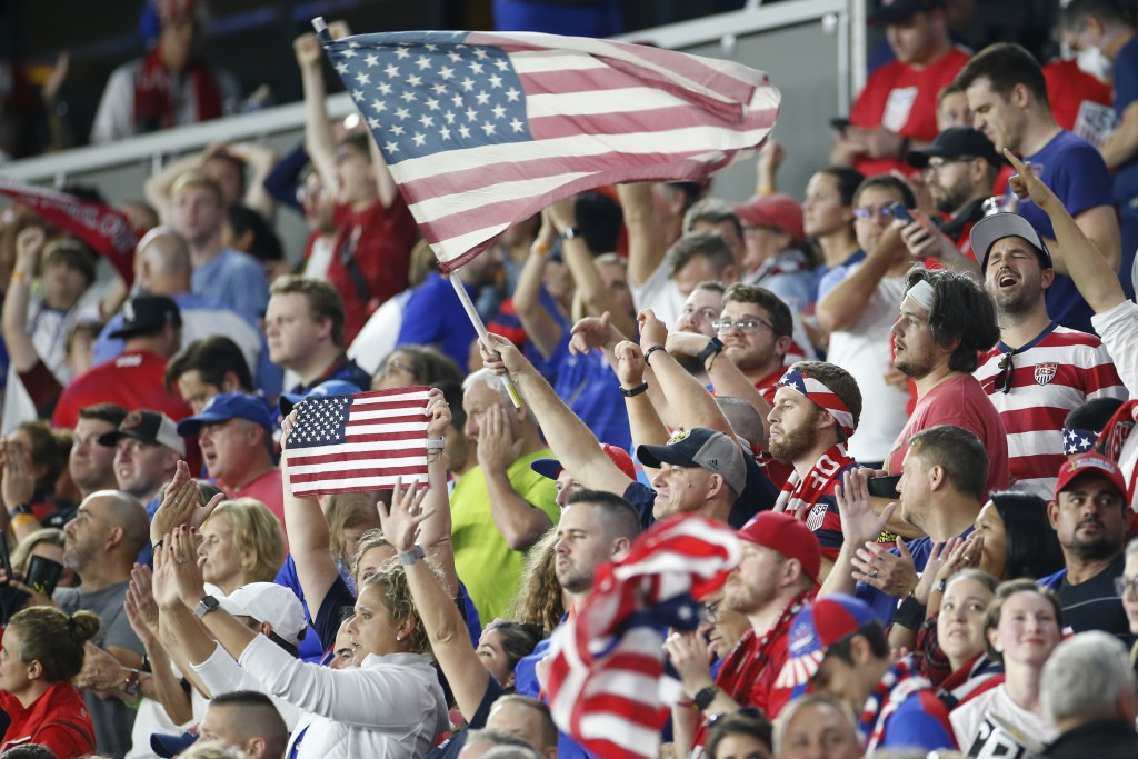 Fans celebrate after the United States defeated Costa Rica 2-1 in a World Cup qualifying soccer match Wednesday, Oct. 13, 2021, in Columbus, Ohio. (AP...