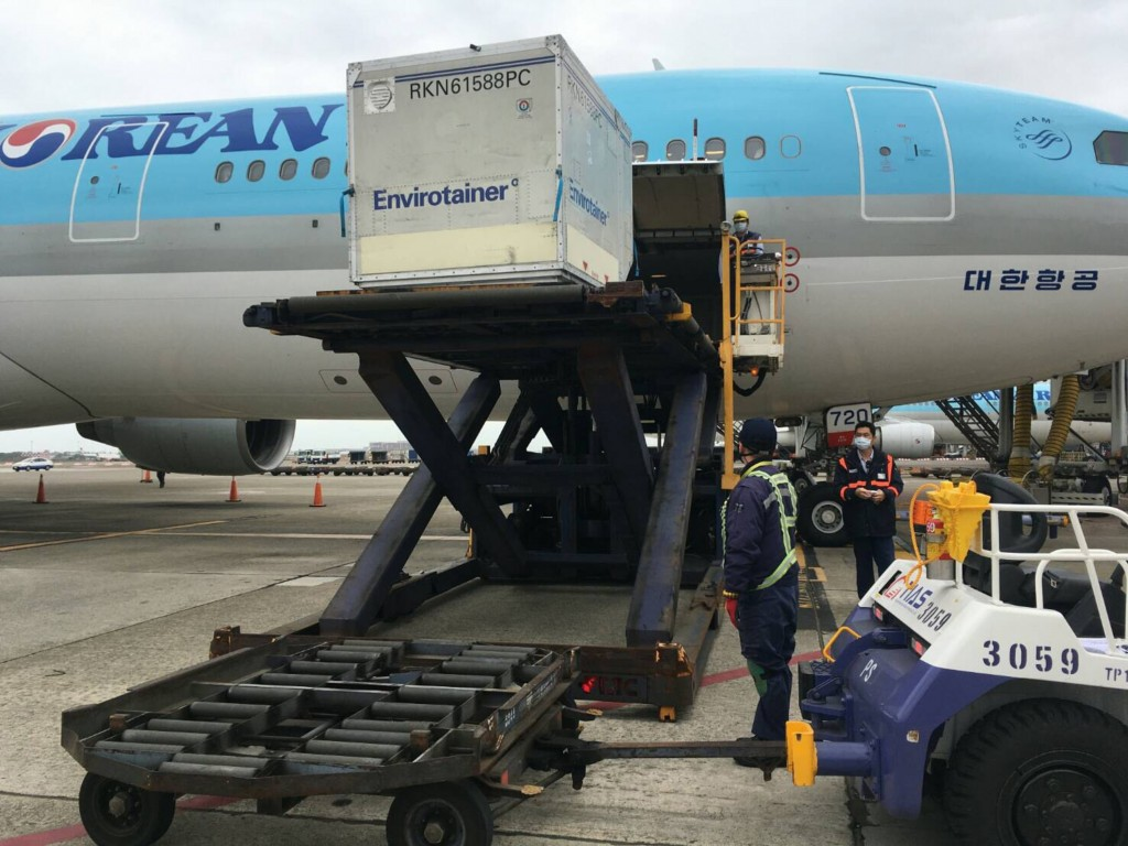 First batch of AstraZeneca vaccines arrive in Taiwan aboard Korean Air jet.