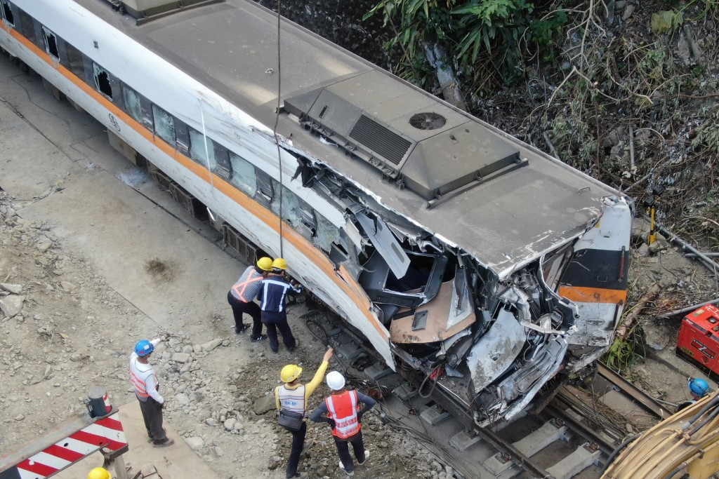 Wreckage of No. 408 Taroko train after deadly derailment.