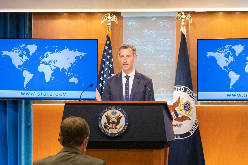 U.S. State Department Spokesman Ned Priceat press briefing. (U.S. State Department photo)