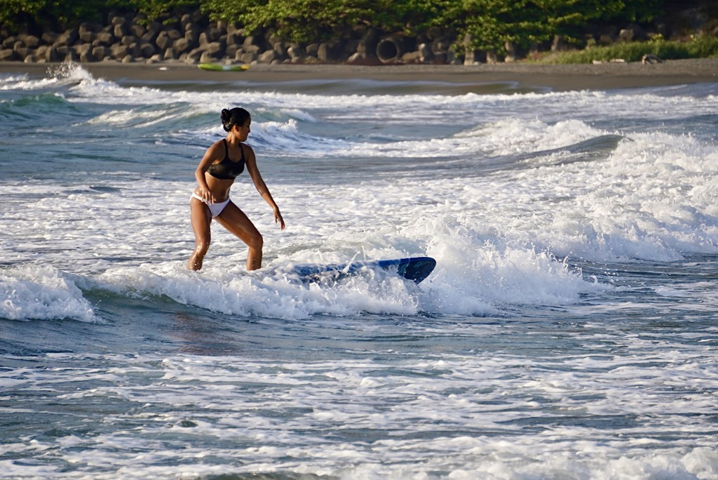 Woman surfing in Kaohsiung's Sizihwan on April 22, 2021.