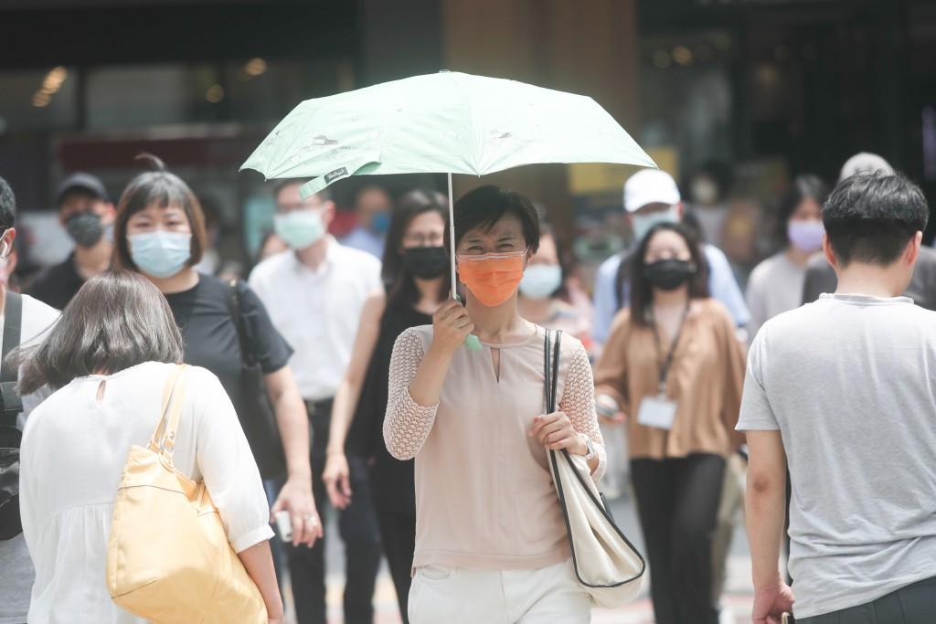 週末全台高溫,紫外線過量,民眾需注意防曬,多補充水分。(來源:中央社)