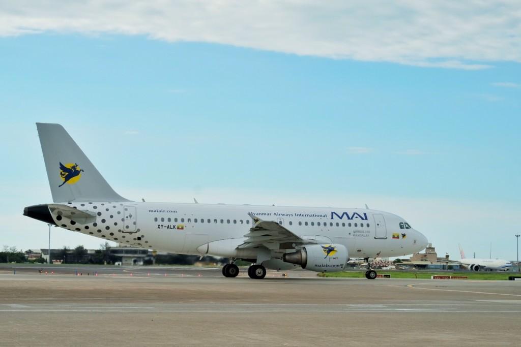 Myanmar Airways International charter flight arrives at Taoyuan International Airport on Saturday.