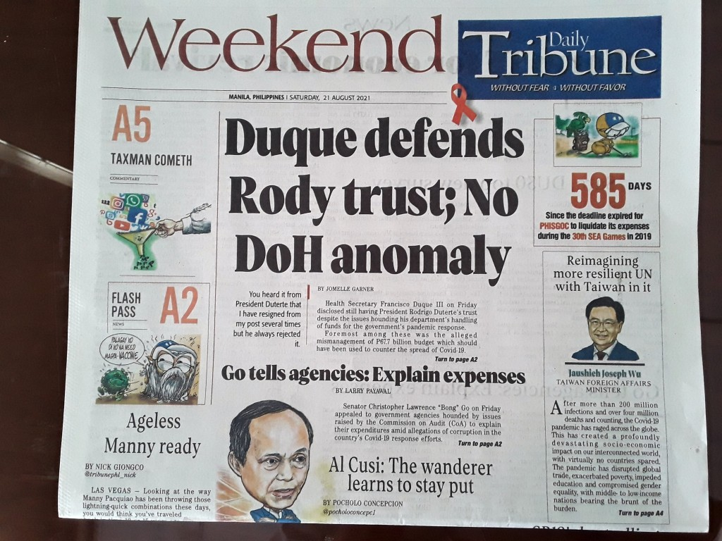 Front page in Philippine newspaper that ran Foreign Minister Joseph Wu's article.