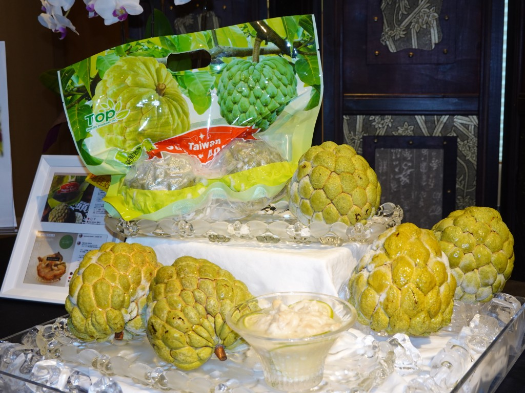 Frozen sugar apples from Taiwan are displayed in a promotion event in Japan.