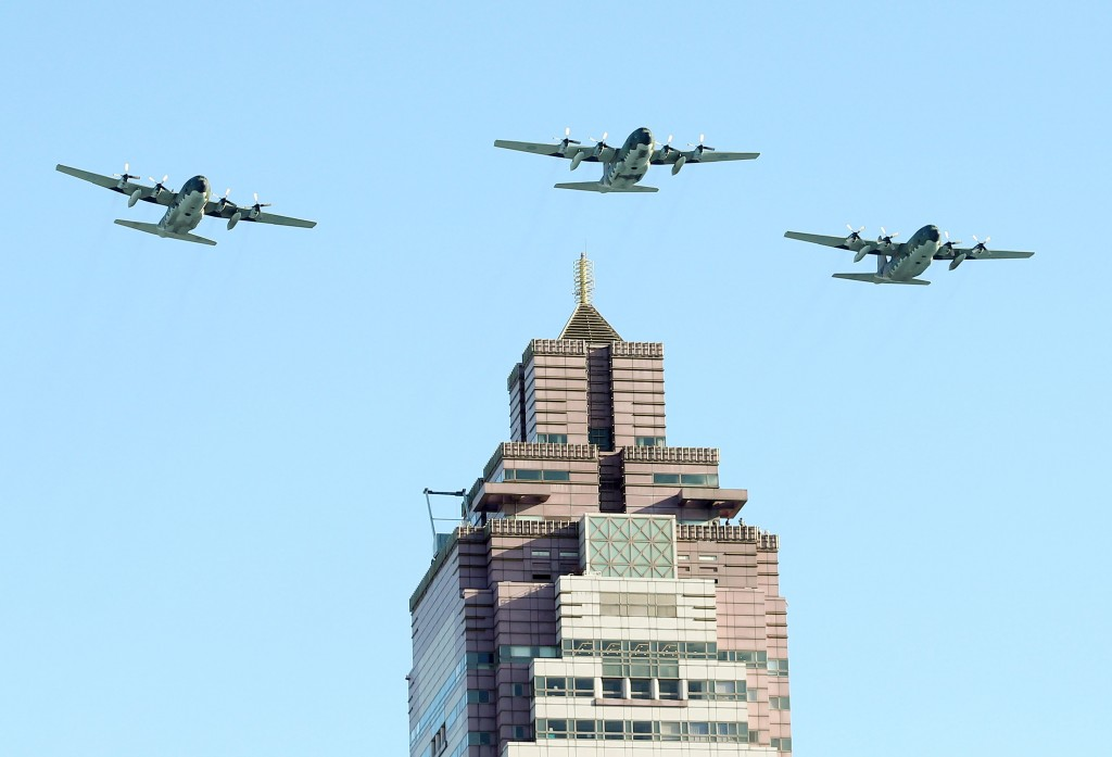 Taiwanese C-130H aircraft preparing for National Day display in Taipei.