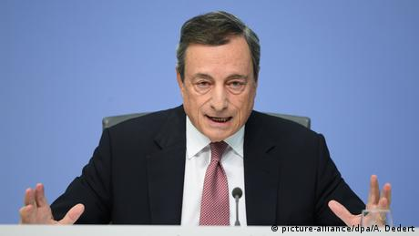 Mario Draghi speaks at a press conference in Frankfurt