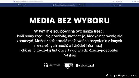 A number of Polish media outlets staged a protest against a new tax on advertisements